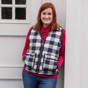 J.Crew Excursion Vest in Navy/White Buffalo Plaid